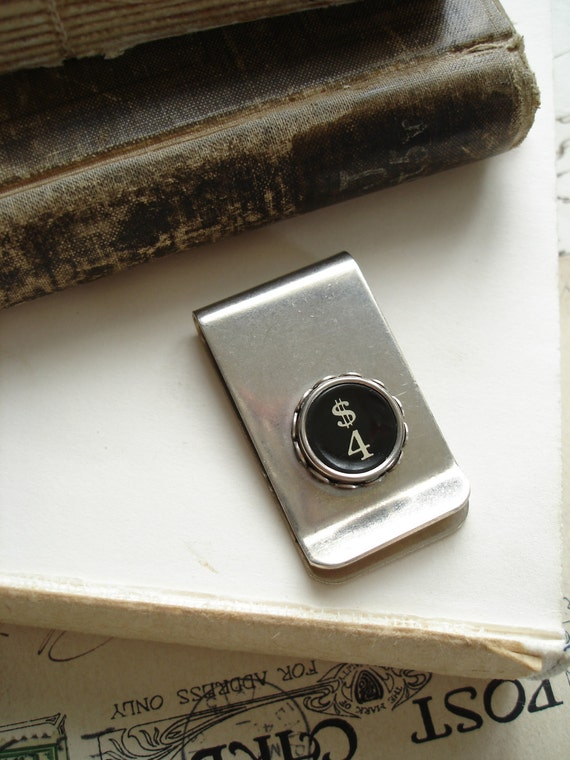 "Typewriter Key Jewelry - ""FOR MONEY"". Vintage Typewriter Key Money Clip, Black Number 4 Four / Dollar Sign. Steampunk Mens Upcycled Jewelry."