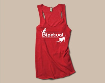 Workout Tank, yoga clothes, Bipetual, cat shirt, dog shirt, fiancé gift, Womens Eco Friendly racerback tank, red, pet lover, gift for her