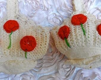 1940's White Hand Crochet Rosebud Purses