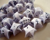 20 Music Notes Large Origami Lucky Stars - Black & White Wishing Stars - Favors, Confetti, Table Decor, Gift Enclosure