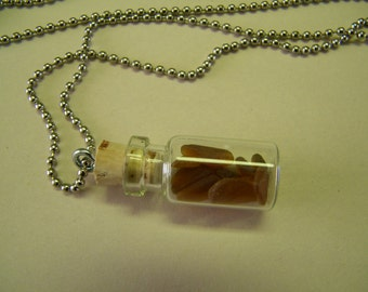 Brown Sea Glass in a Bottle Necklace