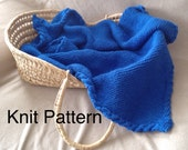 Knit baby blanket pattern - warm baby afghan with a cable border - baby boy or baby girl - instant download pdf