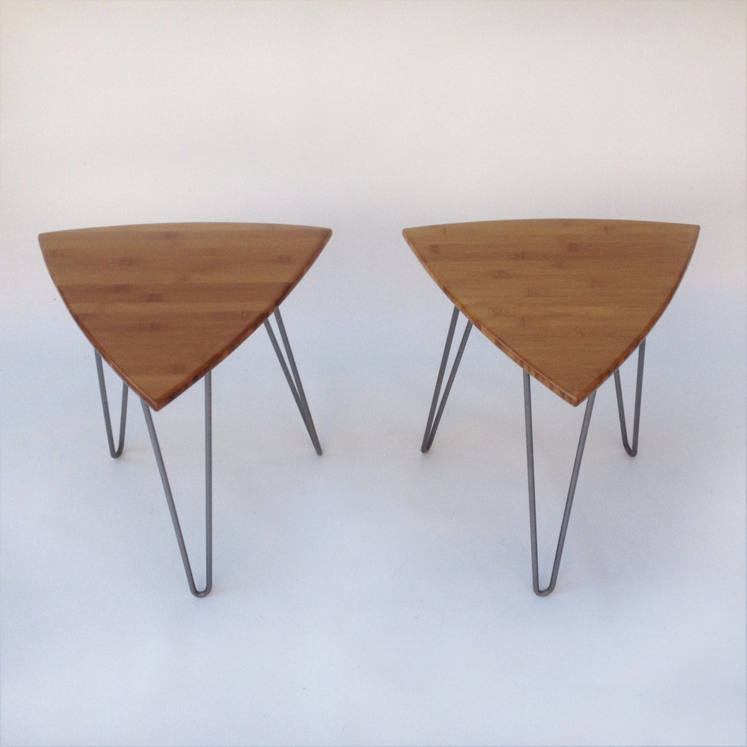 Pair Of Guitar Pick Side Tables Mid Century Modern Triangle