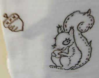 Stag & squirrel hand embroidered flour sack towel set
