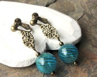 Dark Teal Clip-on Earrings or HOOKS handmade hollow Glass Ball Dangle Clip Earring Ear Clip Antique brass screw clips or pierced hooks E595