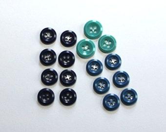 Vintage - Blues Destash - Button Bonanza - 3 sets - Rimmed Buttons (17) 2 szs