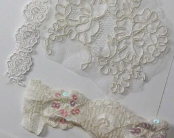 Vintage - Lace Applique Bits and Pieces Destash (3) embellishment, wedding, bridal, embroidery