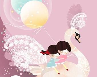 Children's pink wall art, fairytale swan print, girls twins bedroom artwork - 'Sweet dreams my little ones' by Schmooks
