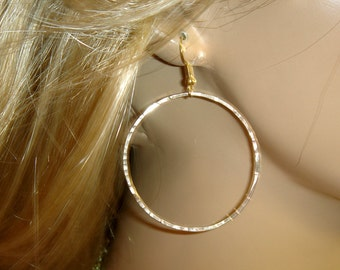 Gold filled 14K hoop earrings delicate  hoop hammered dangle