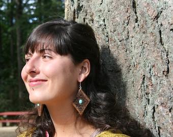 Turquoise Wood Earrings- In SpaltedMaple Wood (MOD 26)- Wooden Jewelry, Boho Jewelry