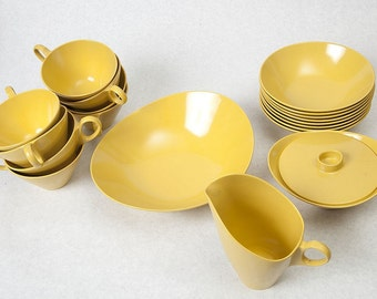Mustard Yellow Melamine Dishes, set of 19 dishes