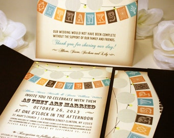 NEW SAMPLE Flag and Lantern Wedding Invitation, Modern and Rustic, Pocketfold, Brown, Blue, Orange, Green, RSVP, Program, Info, Love Birds