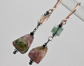 Tourmaline Dangle Earring Wire Wrap Oxidized SilverRose Gold Fill Earring Mixed Metal Raw Gemstone Mineral Jewelry Minimalist