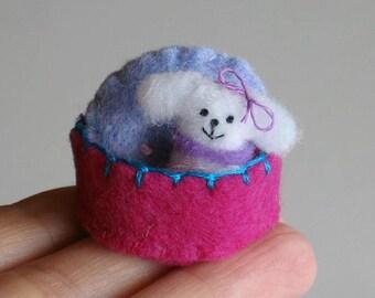 Dog stuffed animal miniature fluffy white felt plush play set tiny toy