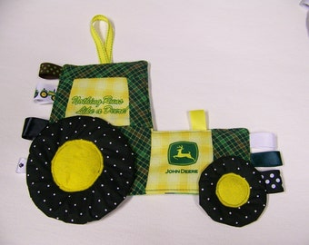 Toy John Deere Tractor Patchwork blanket Crinkle Toy made from John Deere Fabric