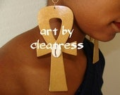 Ankh Earrings in Gold with Cowrie Shell