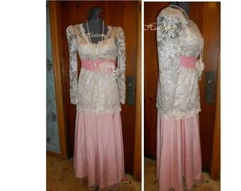 Victorian Edwardian Titanic Downton costume womens  6 pc skirt blouse belt necklace pin rose lace pink