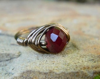 Garnet RING . To Order - Garnet Rondelle - Red, Brass, Otter Brown, Dark, Oxblood, Garnet, Burgandy, Seductive, Dark, Fall, Jewelry Rings