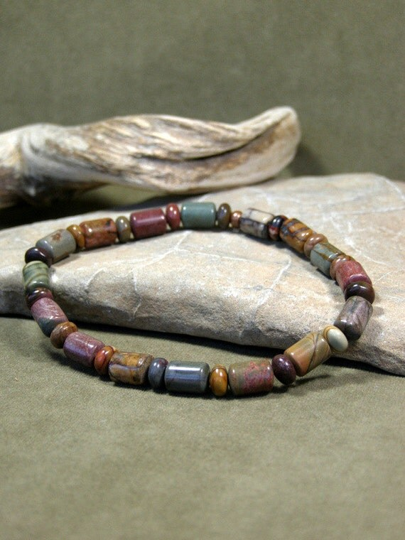 Mens Bracelet, Mens Beaded Bracelet, Southwest Bracelet, Mens Jewelry, Stretch Bracelet, Picasso Jasper Gemstones, Stretch Bracelet