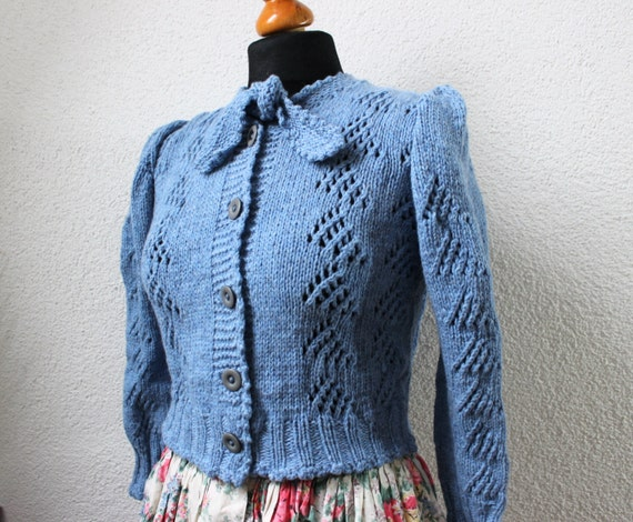 1940s Style Sweaters and Knit Tops tyrolean sweater 40s dirndl style handknitted cardigan knitted 40s style pale bluelindy hopperlindy hoprockabellabavarian $225.00 AT vintagedancer.com