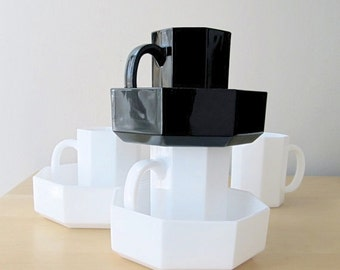 pair octagonal arcoroc black octime arcopal white novoctime mug or bowl french glassware octagon
