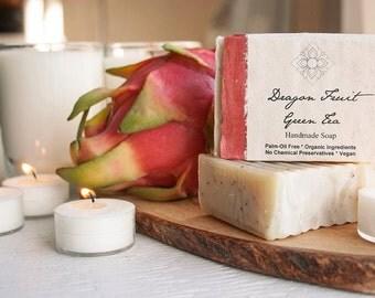 Dragon Fruit Green Tea Organic, Vegan, Palm Oil Free Soap, for Normal to Oily Skin