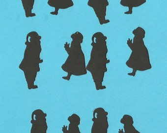 Lot of 6 Silhouette Santa and Mrs Claus Die Cuts
