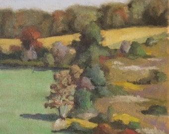 landscape, original painting, oil painting, plein air, autumn landscape. autumn colors, country, farm, rustic, gift idea, autumn trends