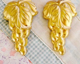 Vintage Shoe Clips Art Nouveau Shoe or Dress Clips Gold Grape Clusters