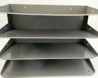 Industrial Metal File Organizer Holder for Wall Shelf or Desk Top File Tray Organization Storage