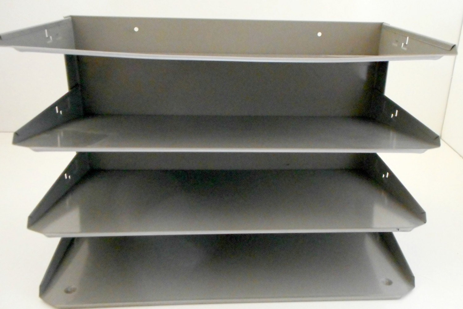 Industrial Metal File Organizer Holder for Wall Shelf or