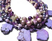 RESERVED Purple Turquoise, vintage beads and freshwater pearls handmade statement necklace