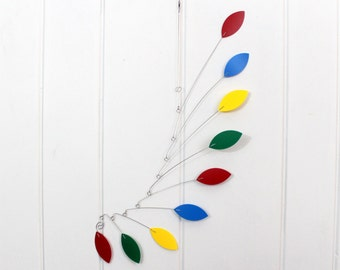 Nursery Mobile / Rainbow Mobile / Hanging Mobile / Kinetic Mobile Sculpture / Carolyn Weir / Skysetter Mobiles / leaf mobile / baby mobile