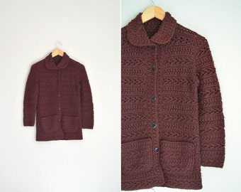 SALE / vintage dark brown knit PETER PAN collar cardigan. size xs.