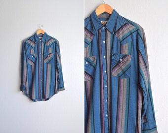 SALE / vintage men's '70s STRIPED WESTERN shirt. size m l (tall).