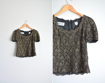 SALE / vintage '80s black & gold fancy FLORAL METALLIC short sleeve cropped top. size s.