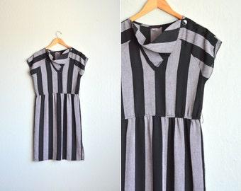 SALE / vintage '80s purple & black STRIPED short sleeve COWL party dress. size s m.