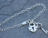 Silver key to my heart charm bracelet - heart lock charm, removable key charm - sterling silver chain -  romantic gift - free shipping USA