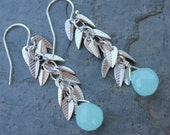 Silver frost earrings - silver plated leaves and pale aqua blue glass on sterling silver ear wires - free shipping in USA