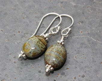 Wasabi picasso swirl silver earrings - deep olive green and brown glass oval beads on sterling silver earwires - free shipping USA