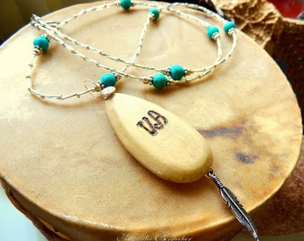 Cherokee Language, Two in One Necklace, Turquoise and Silver, Handcrafted Jewelry, Native Style Jewelry, Gemstone Jewelry,Peace Jewelry