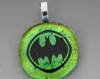 Lime Green Batman in Circle Pendant Dichroic fused glass jewelry w/ cord
