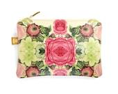 Bridesmaid Clutch bag, Leather Zip Bag,  Makeup Bag,  Travel bag - Antique Rose