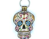 Leather  Sugar Skull / Day of the Dead / Dia de Muertos Keychain / Keyring / Bag Charm