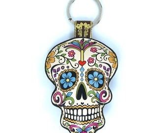 Leather  Sugar Skull Keychain / Keyring / Bag Charm