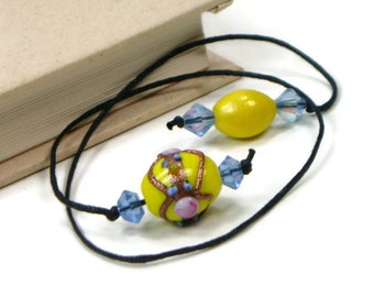 Book Thong Beaded Bookmark Yellow Blue Book Cord String Bookmark Gift under 5 Book Club Teacher Gift