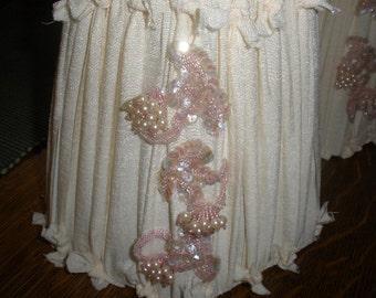 sale,LAMP SHADES, pair Hand Made,'OOAK' gorgeous,Sequins, Vintage applique, cotton, Unique, Pink, Cream, Antique Metal frame