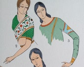 1925 French Art Deco Hand Coloured Pochoir Print on Indian Women's Fashions . Sleees. Plate 6 (RESERVED)