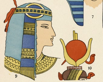 1925 French Art Deco Hand Coloured Pochoir Print on Egyptian Women's Hairstyles. By Paul Louis de Giafferri . Plate 7