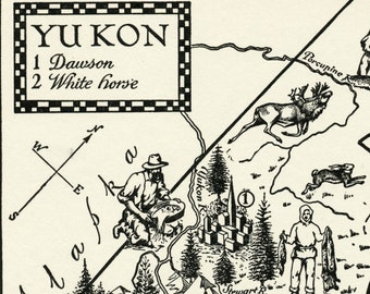 1960 Vintage Illustrated Map of the Yukon
